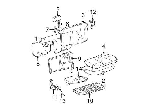 Rear Seat Components For 2005 Cadillac Escalade Esv
