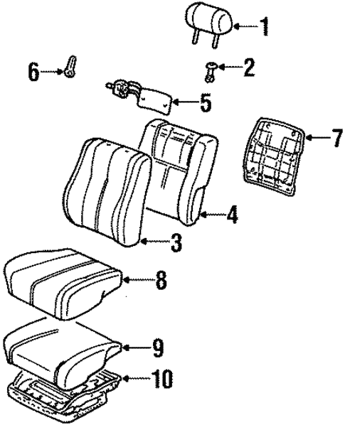 Front Seat Components For 1996 Toyota Camry