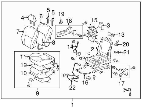 BODY/PASSENGER SEAT COMPONENTS for 2010 Toyota Corolla #2