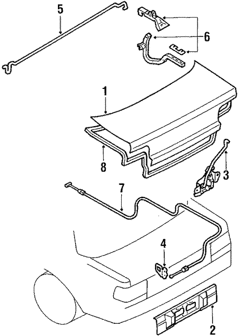 Genuine Oem Trunk Parts For 1992 Toyota Corolla Base