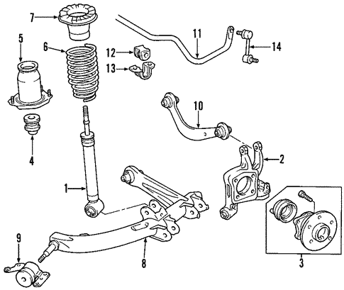 Genuine OEM Rear Suspension Parts for 2002 Toyota Celica GT