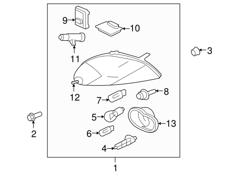Headlamp Components For 2011 Jaguar Xk