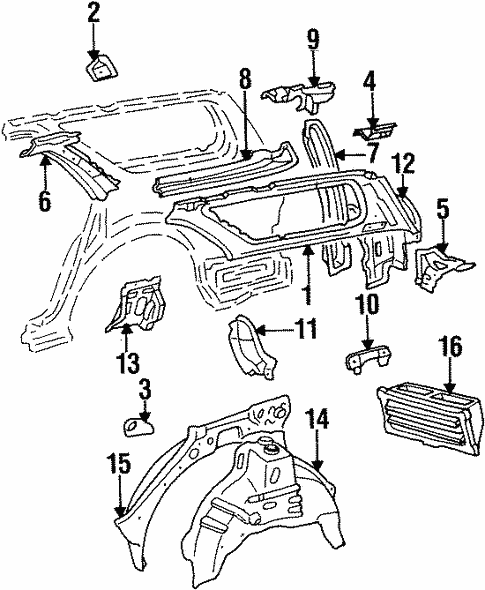 Genuine Oem Inner Structure Parts For 1992 Toyota Camry Le