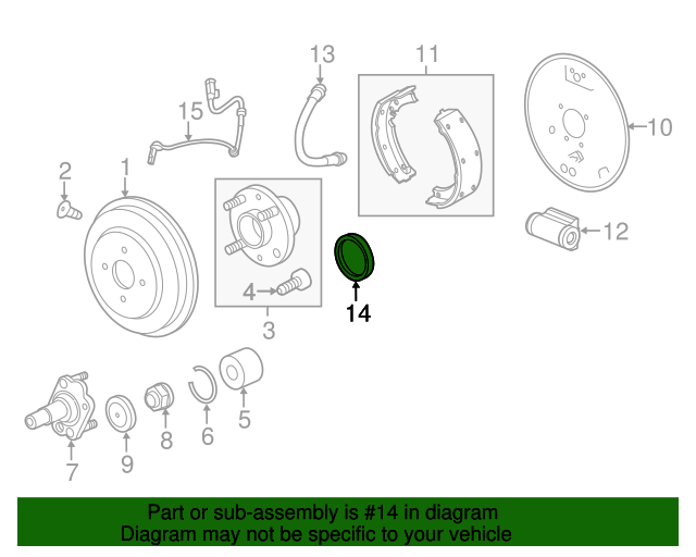 ABS Wheel Speed Sensor Ring Rear 96318867 fits 13-15 Chevrolet Spark