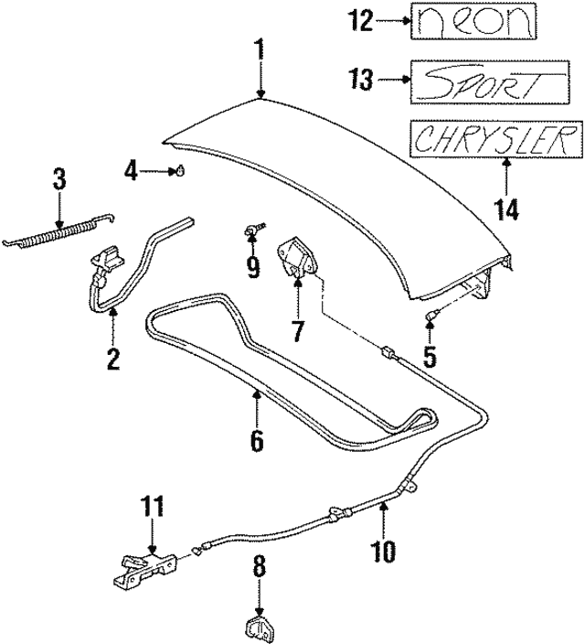 1997 1999 Dodge Neon Latch 4888622ab