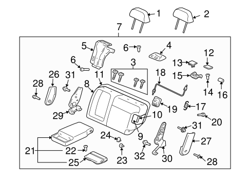 Rear Seat Components For 2003 Mitsubishi Outlander Xls