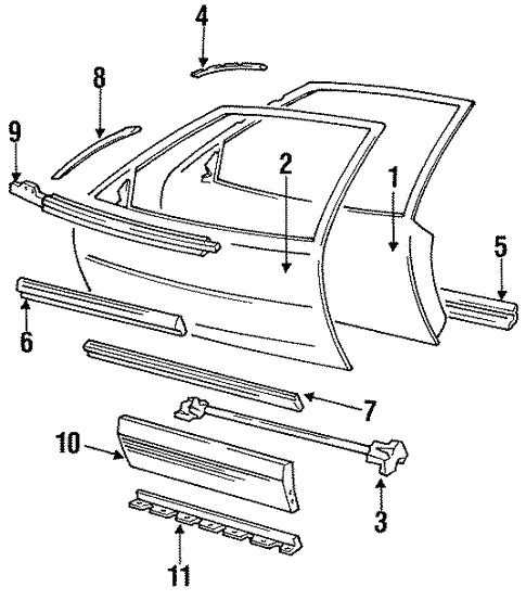 Door & Components for 1991 Pontiac Grand Prix #0