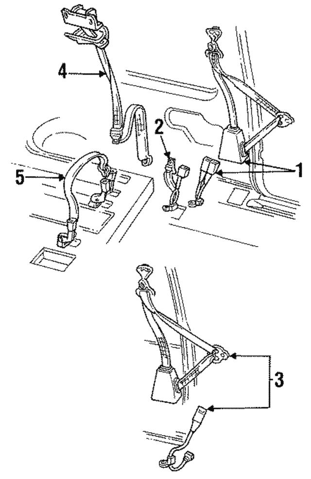 1996 2000 Gm Belt Retractor 12376732