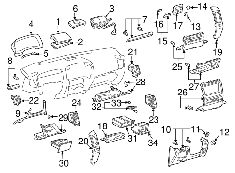 instrument panel components for 2005 lexus gx470