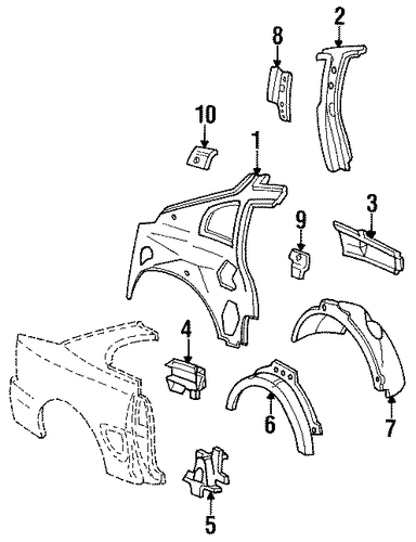 Body/Inner Structure for 1996 Ford Mustang #2