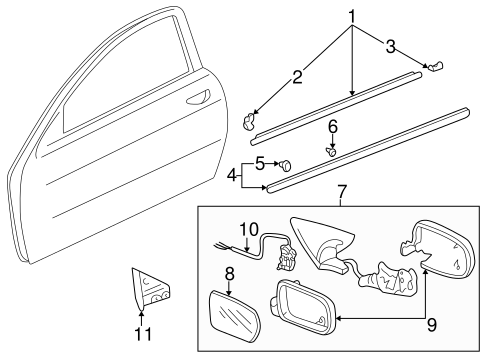 Acura Molding Assembly L Front Door 72450st7003 on acura integra door molding