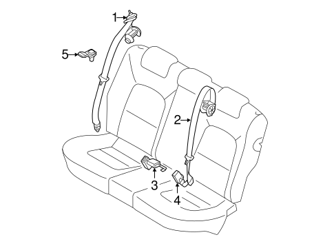 Rear Seat Belts For 2012 Kia Rio