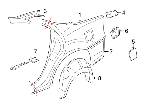 Oem 2005 Chevrolet Impala Quarter Panel Components Parts