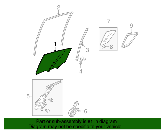 Glass Assembly, L Rear Door (Green)(AGC)