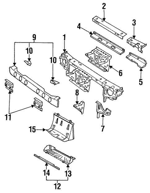oem 1995 saturn sc1 radiator support parts
