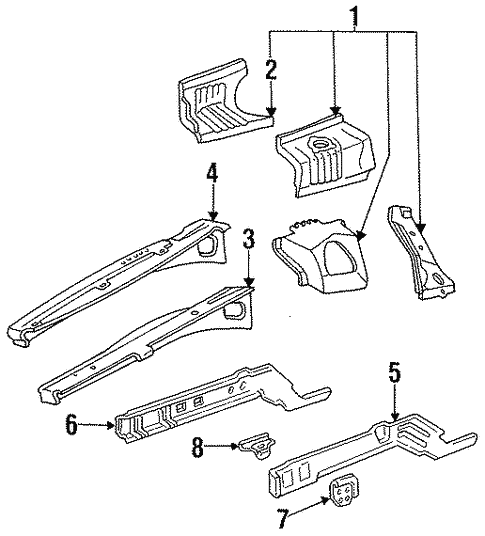 Structural Components Rails For 1997 Ford Thunderbird