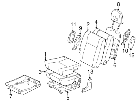 Rear Seat Components for 1996 Toyota RAV4 #0