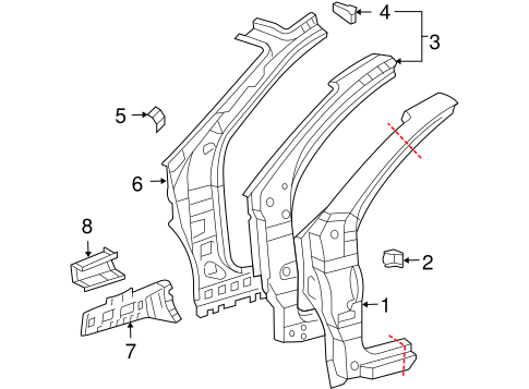 BODY/HINGE PILLAR for 2008 Toyota Sienna #1
