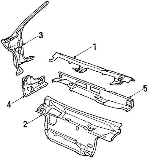 OEM 1990 Chevrolet Beretta Cowl Parts