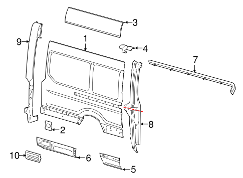 Body/Side Panel & Components for 2017 Ford Transit-350 HD #4