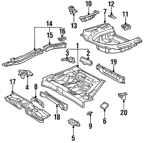 BODY/REAR FLOOR & RAILS for 1996 Toyota Avalon #1