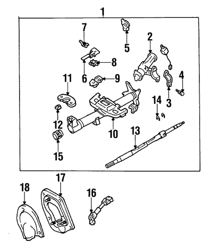 STEERING/STEERING COLUMN ASSEMBLY for 1998 Toyota Tercel #1