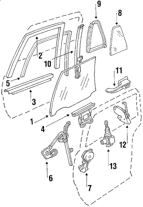 oem 1986 oldsmobile delta 88 rear door parts
