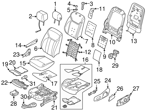 Passenger Seat Components For 2018 Land Rover Discovery