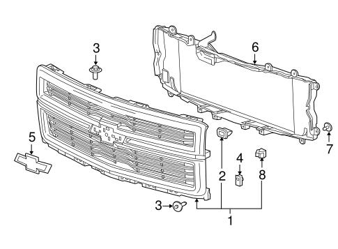 oem 2014 chevrolet silverado 1500 grille components. Black Bedroom Furniture Sets. Home Design Ideas