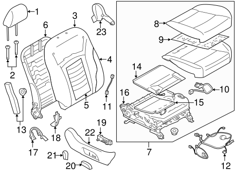 Passenger Seat Components For 2018 Subaru Outback