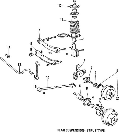 genuine oem rear suspension parts for 1988 toyota corolla fx16 gts