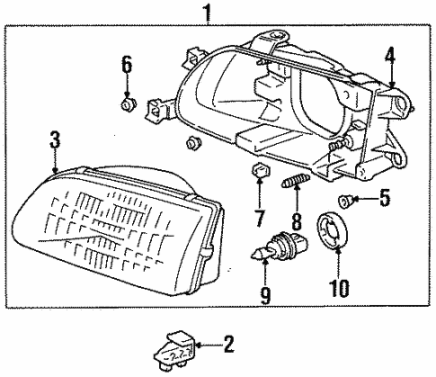 Headlamp Components For 1997 Toyota Tercel