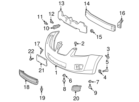 bumper & components - front for 2009 pontiac vibe | gm parts online  gm parts online