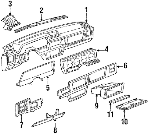 instrument panel parts for 1985 oldsmobile firenza