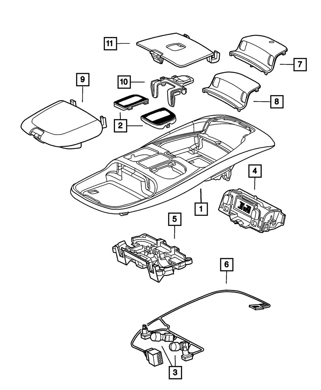 Dodge Ram Overhead Console Map Light Wiring w//Switches Mopar# 5013609AA OEM