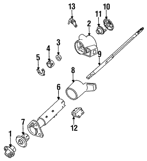 Steering Column Assembly Scat on 1991 Corsica 2 Engine