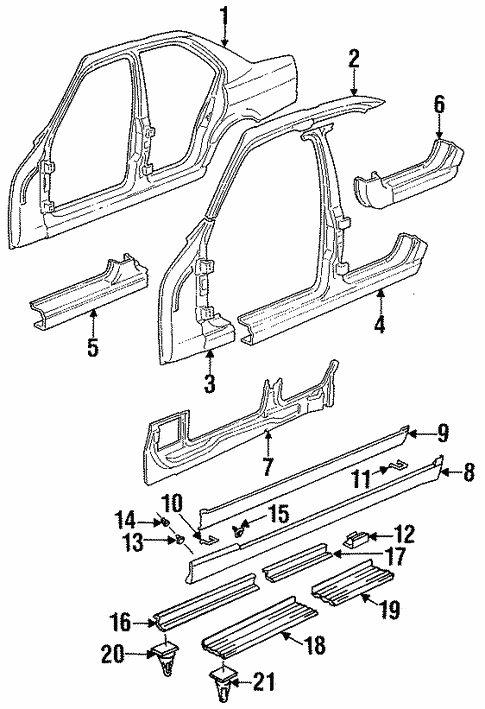 Center Pillar & Rocker for 1993 BMW 525iT #1