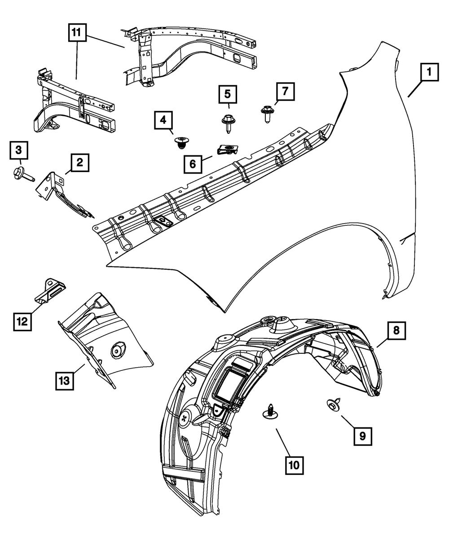 Jeep CHRYSLER OEM 11-15 Grand Cherokee Fender-Closure Panel Left 68194237AB