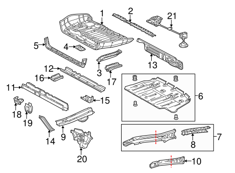 BODY/REAR FLOOR & RAILS for 2014 Toyota Sienna #1