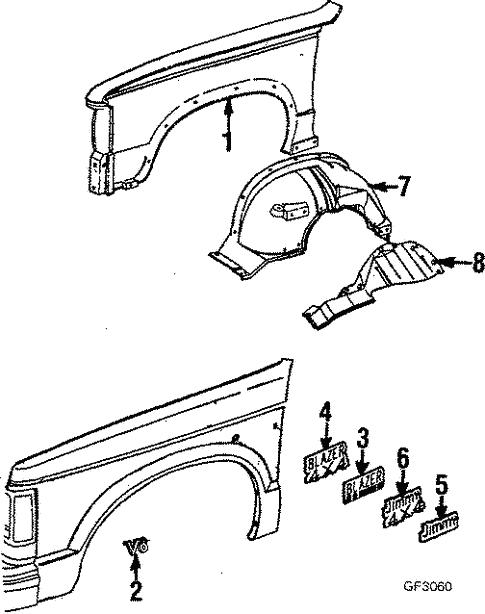 Fender Components For 1988 Chevrolet S10 Blazer Base