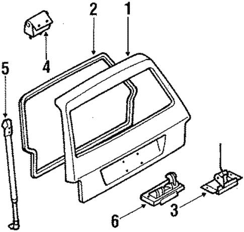 Genuine Oem Liftgate Parts For 1986 Mazda 323 Base