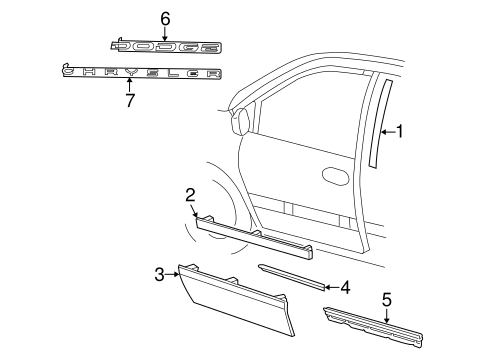 Belt molding left mopar 4717833ae for Exterior door components