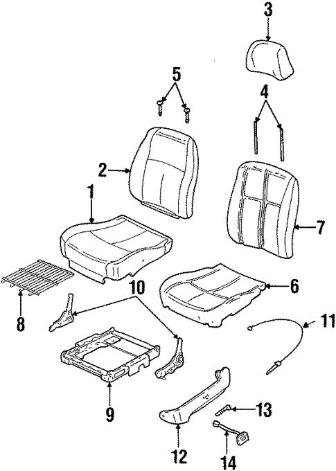 Front Seat Components For 1997 Oldsmobile Cutlass