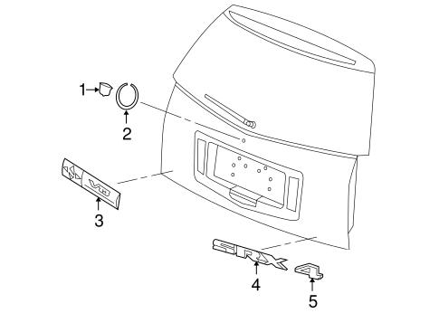 exterior trim lift gate parts for 2006 cadillac srx. Black Bedroom Furniture Sets. Home Design Ideas