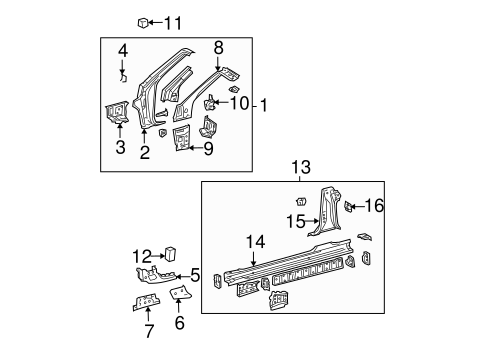BODY/HINGE PILLAR for 2007 Toyota Solara #1