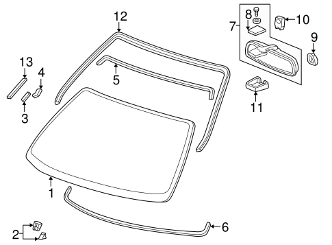 Fastener C, Rear Windshield