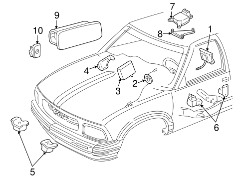electrical/air bag components for 2003 chevrolet s10