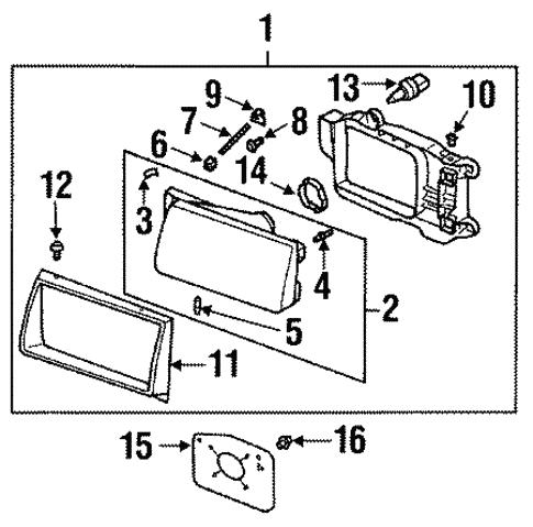 Headlamp Components For 1999 Isuzu Rodeo