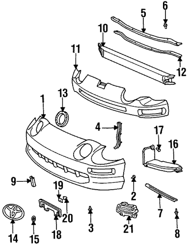 BODY/BUMPER & COMPONENTS - FRONT for 1997 Toyota Celica #1