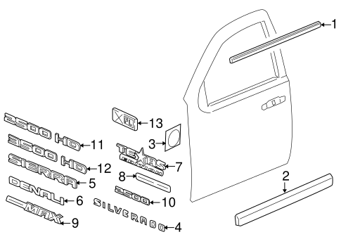 Gm Side Molding 20816962 on oem gm parts diagrams